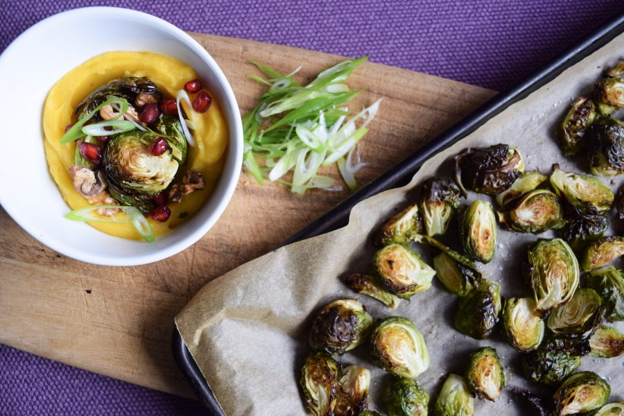 Pomegranate Walnut Roasted Brussels Sprouts