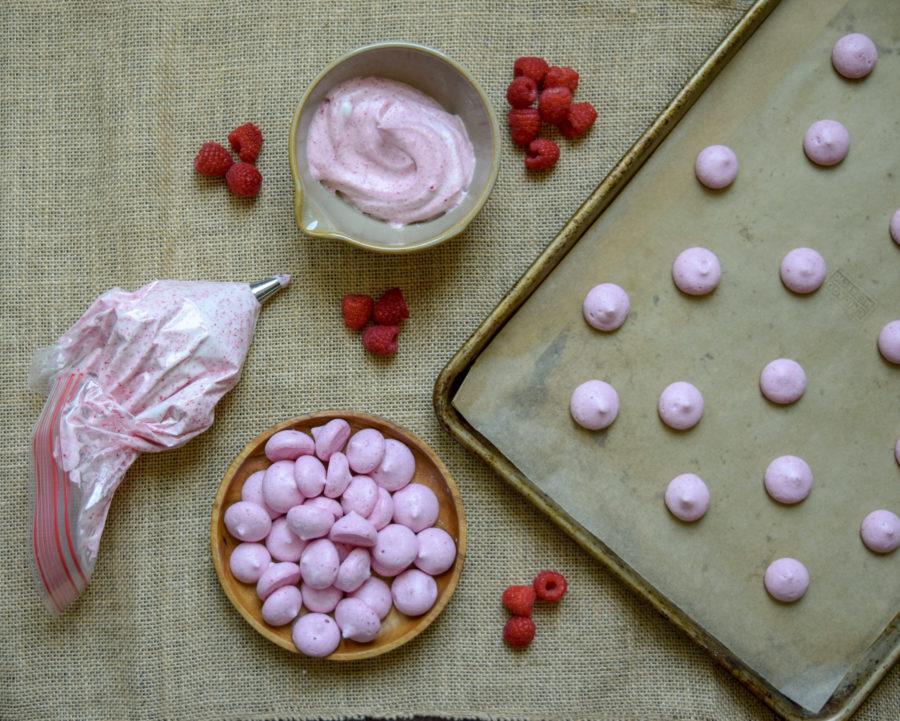Egg Free Raspberry Meringues